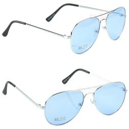New Aviator Mens Womens Sunglasses Metal Frame Silver Light