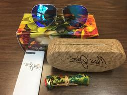 NEW IN BOX MAUI JIM SUNGLASS MAVERICKS B264-17 SILVER / BLUE