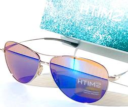 NEW* SMITH Optic LANGLEY Silver 60mm Aviator Blue Mirrored C
