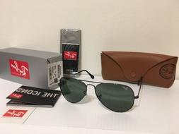NEW RAY BAN AVIATOR RB3025 W0879 Gunmetal/G-15 Green Lens 58
