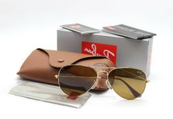 New Ray-Ban RB3025 001/33 Gold Brown Classic Aviator Sunglas