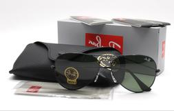 New Ray-Ban RB3025 L2823 Black/Green Classic G-15 Aviator Su