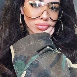 Oversized Aviator Clear Lens Sunglasses Gold Silver Metal Fr