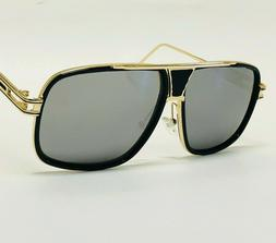 Oversized Mach Aviator Men Gold Metal Frame Retro Square Des