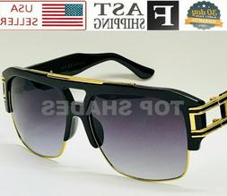 Oversized Mach Square Grandmaster Aviator Gold Metal Bar Men