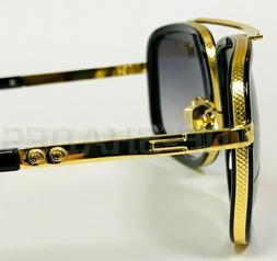 Men Fashion Sunglasses Oversized Square Gold Flat Top Frame