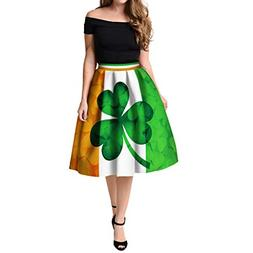 ANJUNIE Women's St Patrick's Day Clover Printed Pleated Flar