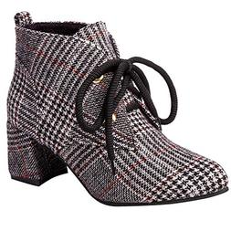 Todaies Women¡s Fashion Plaid Cloth Shoes Pointed-Toe Non-S