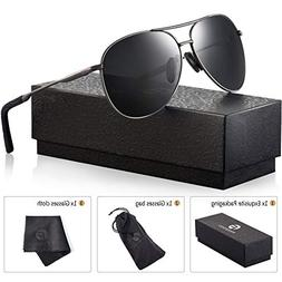 Polarized Aviator Sunglasses for Men - Feirdio Metal Frame S