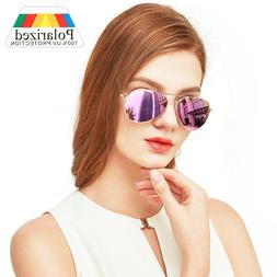 Polarized Aviator Sunglasses For Women Ladies Pink Mirrored