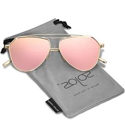 SOJOS Polarized Flat Mirror Lenses Sunglasses Classic Metal
