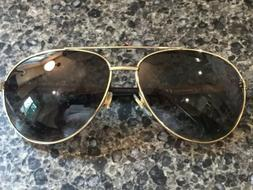 RARE GUCCI Aviator GG2226/S Gold Black Leather Sunglasses J5
