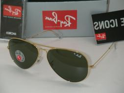 RAY-BAN Aviator RB3025 001/58 62mm Polarized G/15 Green w/Go