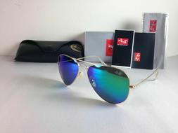 Ray Ban Aviator Sunglasses Gold Frame with Green Flash Mirro