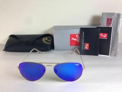 Ray Ban Aviator Sunglasses Gold Frame with Blue Flash Mirror