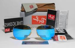 Ray Ban RB 3025 Aviator Flash Lenses112/17 Gold frame /Blue