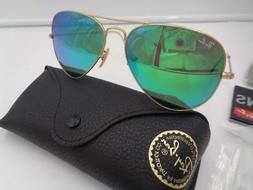 RAY-BAN RB3025 112/19 GOLD FRAME GREEN MIRROR AVIATOR SUNGLA