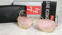 Ray-Ban RB3025 Aviator 112/Z2 Gold Frame/ Pink Flash Unisex