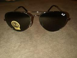New Ray Ban R3025 Aviator Sunglasses 58mm Black Frame Black