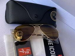 Ray Ban Rb3025 Gold Aviator Brown Gradient Lens 58mm Final S