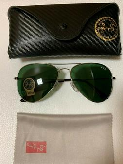 Ray-Ban RB3026 Unisex Aviator Sunglasses with Silver Frame a