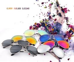 Retro Aviator Sunglasses Vintage Mirror Lens New Men Women F