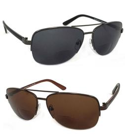 Retro Mens Pilot Bifocal Tinted Sun Reader Reading Sunglasse