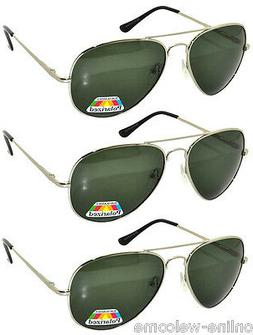 Set of 3 Men Polarized Sunglasses Aviator Spring Silver Meta
