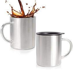Stainless Steel Coffee Mug Set Of 2 - Double Wall Insulated