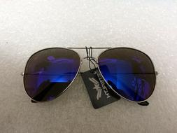 AVIATOR SUNGLASSES BLUE MIRROR LENS