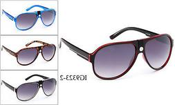 Aviator Sunglasses With Top Faux Leather Retro Classic Style