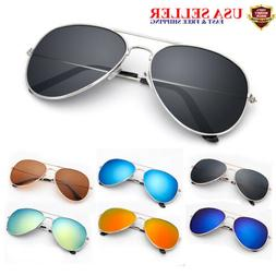 UV 400 Mirrored Sunglasses for Men Women Aviator Polarized c
