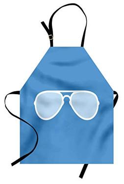 Ambesonne Vintage Blue Apron, Aviator Style Sunglass with Wh