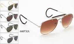 Vintage Metal Aviator Sunglasses Cable Temple Brow Bar Outdo