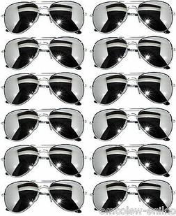WHOLESALE 12 SILVER MIRROR AVIATOR STYLE SILVER METAL FRAME