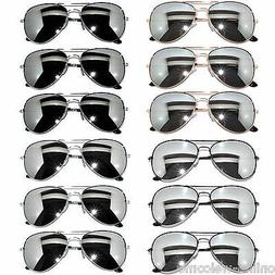 WHOLESALE SET OF 12 AVIATOR STYLE MIX COLORS MIRROR LENS MET