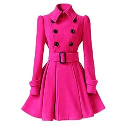 winter warm women woolen coat trench parka