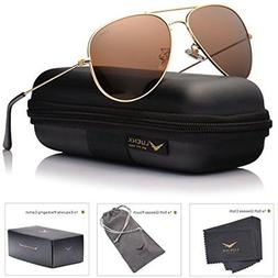 LUENX Womens Mens Aviator Sunglasses Polarized Brown Amber L
