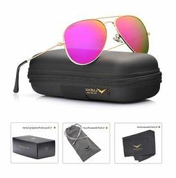 LUENX Womens Mens Aviator Sunglasses Polarized Mirrored Rose