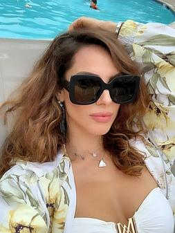 "XXL OVERSIZED ""Jackie"" Women Sunglasses Aviator Flat Top Squ"